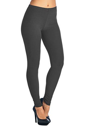 's Solid Color Full Length High Waist Leggings Charcoal ()