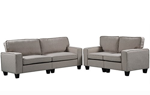 Harper&Bright Designs 2 Piece Sofa and Loveseat Set Living Room Sofa Set (Beige1)