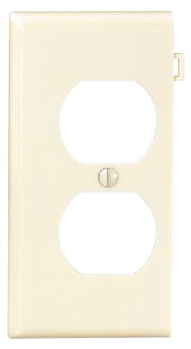 Sectional Nylon Wall Plate (Leviton PSE8-I 1-Gang Duplex Device Receptacle Wallplate, Sectional, Thermoplastic Nylon, Device Mount, End Panel, Ivory)