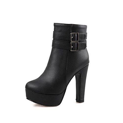 AgooLar Damen Hoher Absatz Schließen Zehe Reißverschluss Stiefel Schwarz