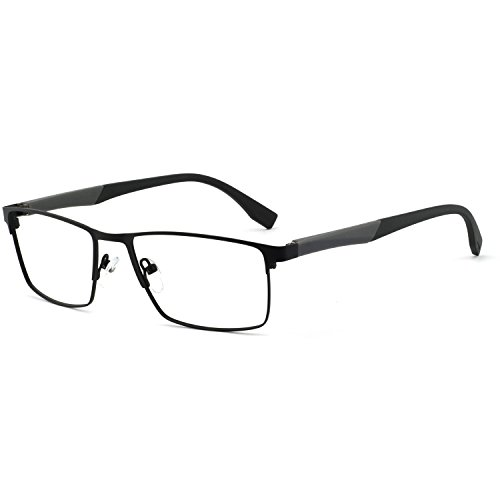 Metal Prescription Eyeglasses - OCCI CHIARI Optical Eyewear Non-prescription Eyeglasses Metal Spring Hinge Rectangle Glasses Frame For Men TR90 (Black+Grey)