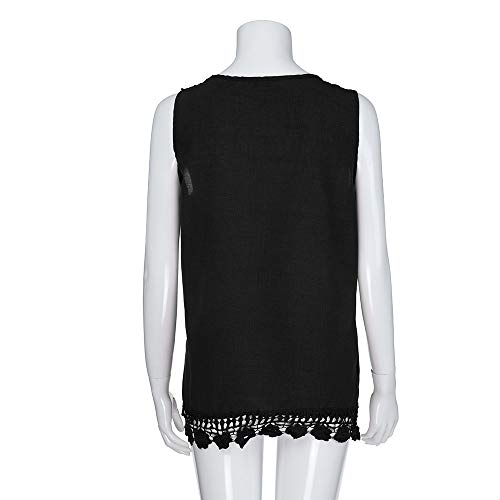 iYBUIA Women O-Neck Sleeveless Pure Color Lace Plus Size Vest Loose T-Shirt Blouse with Hollow Hem Black by iYBUIA (Image #4)