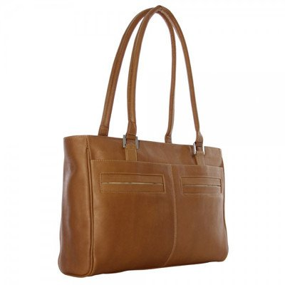 Piel Leather Ladies Laptop Tote with Pockets, Chocolate