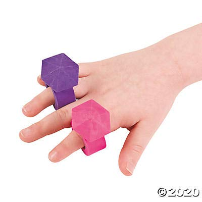 Fun Express Diamond Ring Erasers (Set of 12) Great for Princess Parties and Favors: Toys & Games