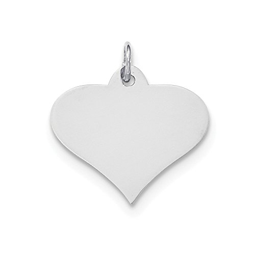 14k White Gold .027 Gauge Engraveable Heart Disc Pendant Charm Necklace Engravable Shapely Love Fine Jewelry Gifts For Women For Her