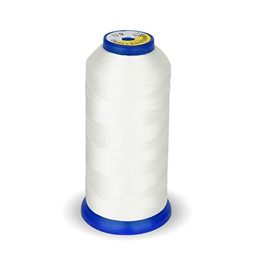 High Strength Polyester Thread Nylon Sewing Thread 1800 Yard Size T70#69 210D/3 for Weaves, Upholstery, Jeans and Weaving Hair, Drapery, Beading, Purses, Leather (White)