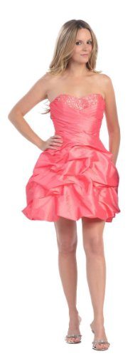 - Strapless Pick-up Cocktail Dress Bridesmaid Prom #801 (12, Coral)