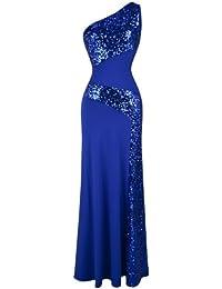 Women's One Shoulder Sleeveless Sequin Maxi Prom Dresses