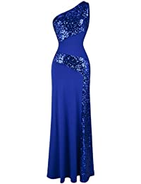 Angel-fashions Women's One Shoulder Sleeveless Sequin Maxi Prom Dresses