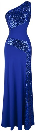 Angel-fashions Women's One Shoulder Sleeveless Sequin Maxi Prom Dresses X-Large Blue ()