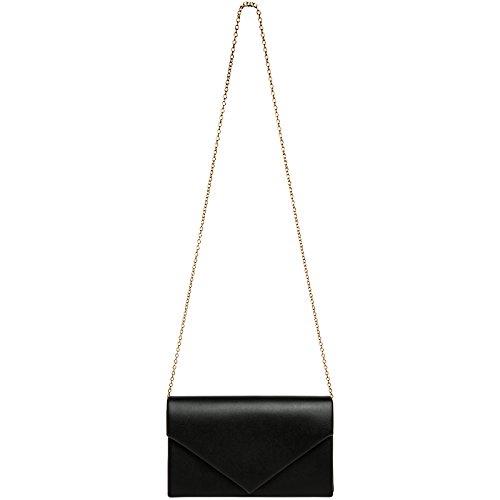de Elegante Larga Fiesta CASPAR Negro Cadena con Bolso TA362 Mano para Mujer Clutch WxnnAH6