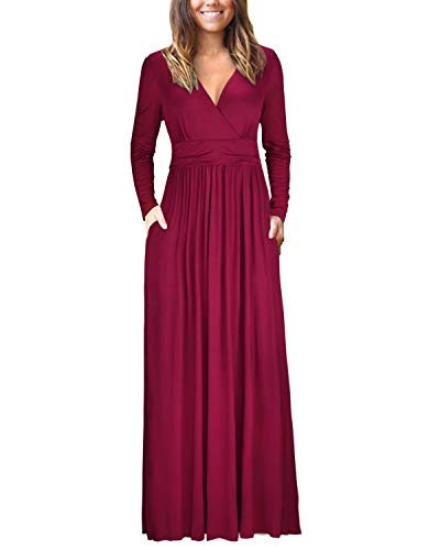 OUGES Womens Long Sleeve V-Neck Wrap Waist Maxi Dress(Wine,M)