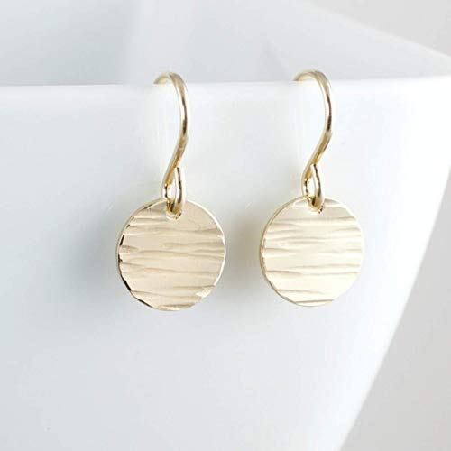 Gold Filled Circle Drop Tiny Dot Earrings Handmade Jewelry Gift For Women - Linen Texture