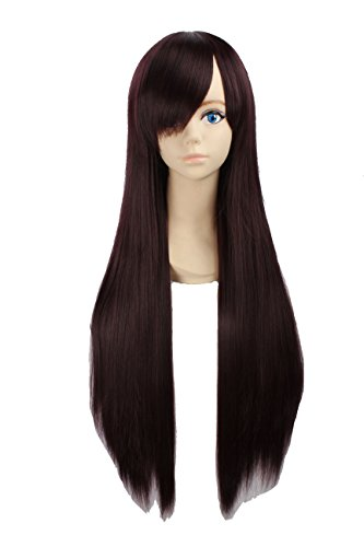 Angelaicos Unisex 80cm Various Color General Anime Cosplay Costume Party Halloween Natural Full Wig Long Straight 31 Inches (Dark Brown) (Unisex 80's Wig)