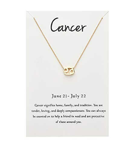 ForeveRing Z Message Card 12 Constellations Necklace Cancer Necklace 12 Zodiac Sign Tag Pendant Birthday Gifts Woman - Sign Cancer Zodiac