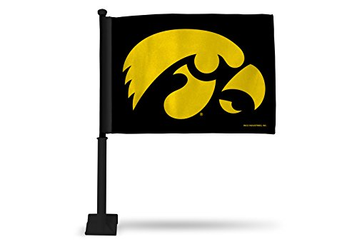 - NCAA Iowa Hawkeyes Car Flag, Black, with Black Pole