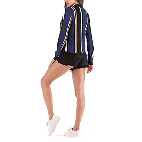 Rayures Les Femmes Court Jackets L'ananas Sport Manteau Svelte Baseball Blousons Verticale Impression Coat Vestes Éclair Bleu Fermeture vIIrdq