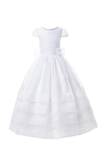AISLE STYLE First Holy Communion Dresses Flower Girl Organza Ball Gown with Elegant Sleeves and Nice Bow White10 by AISLE STYLE