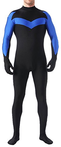 Riekinc Halloween Nightwing Cosplay Bodysuit Zentai Suit Costume, Blue, Large]()