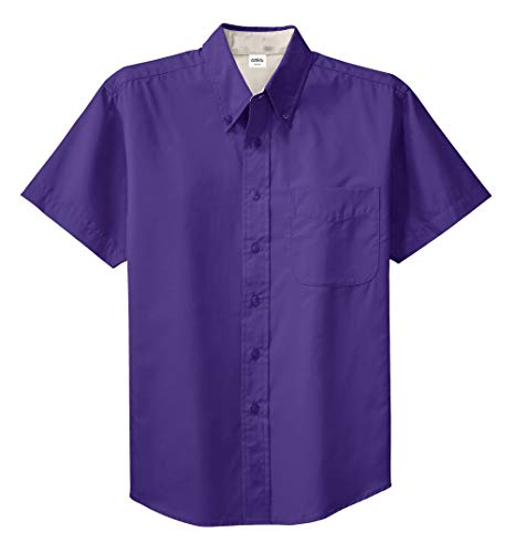 Clothe Co. Mens Short Sleeve Wrinkle Resistant Easy Care Button Up Shirt, Purple/Light Stone, -