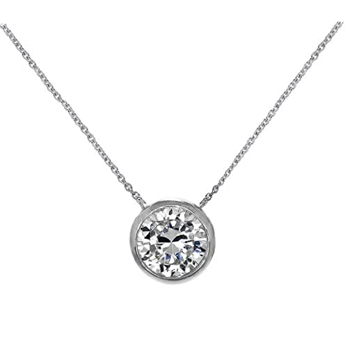 Tiffany necklace amazon solitaire pendant necklace 925 sterling silver round 6mm cz bezel set 16 18 free box aloadofball Gallery