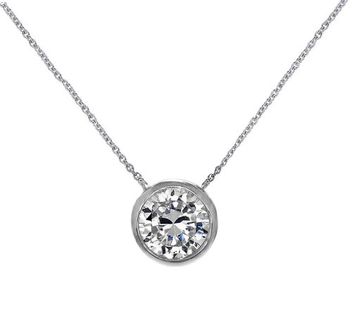 (Solitaire Pendant Necklace .925 Sterling Silver Round 6mm CZ Bezel Set 16