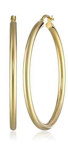 14k Yellow Gold Italian Tube (3 mm) Hoop Earrings (1.75'' Diameter) by Amazon Collection