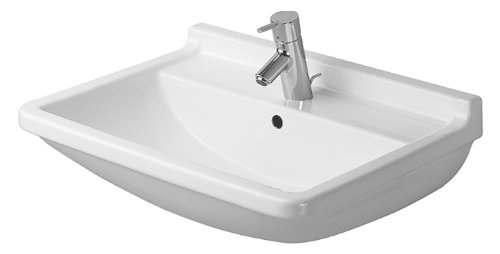 Duravit 0300650000 Starck 3 Single-Hole Lavatory Wash Basin, White finish (Hole Starck Single)