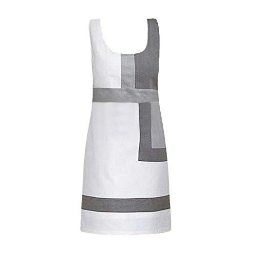 Close-dole Women Casual Shift Geometric Print Dress O-Neck Sleeveless Mini Party Dresses Sleeveless Splicing A-Line Dress White