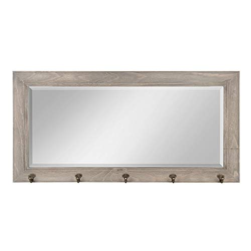 DesignOvation Pub Mirror with 5 Metal Hooks, Rustic Gray (Mirror Holder Key For Wall)