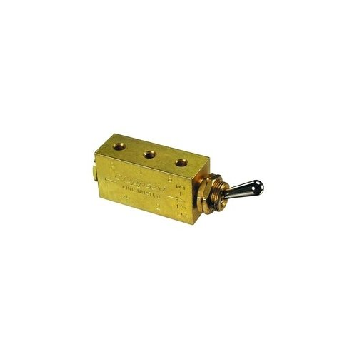 Clippard FTV-3 3-Way Toggle Valve, Enp Steel Toggle, 10-32, 10 SCFM at 100 PSIG by clippard