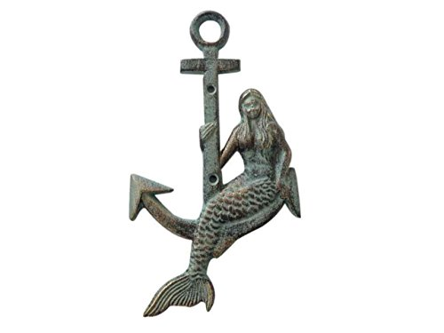 - Hampton Nautical  Cast Iron Mermaid Anchor Metal Wall Art, Antique Bronze
