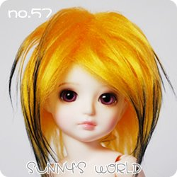 Doll Fur Wig (15-6inch(16cm): 1/6 BJD Doll MSD Fur Wig Dollfie Yellow + Black / SW57)