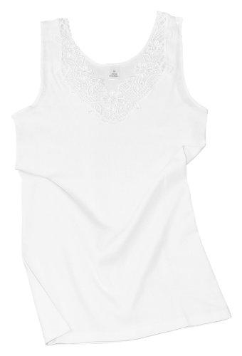 pettinato Cotone Seamless Donna Canottiera Sheer Side Bianco Lace Wide Yard gTOxwvq4