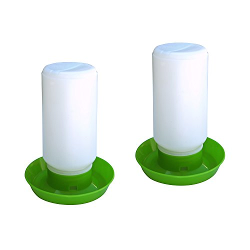 ALEKO 2PDR001 Chicken Hen Drinker Poultry Water Container, Set of 2, Green and White