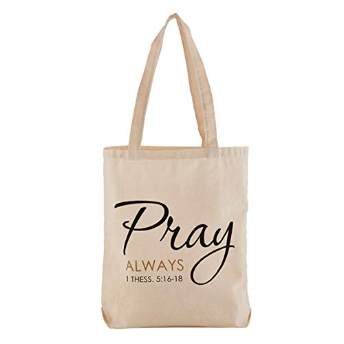 Pray Always Religious Canvas Tote Bag, 14 - Christian Religious Bag Tote