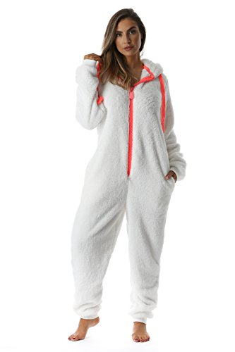 #followme 6441-CRM-XL Adult Onesie with Animal Ears -