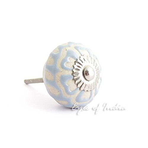 Eyes of India - Gray Ceramic Cabinet Door Dresser Cupboard Knobs Pulls Shabby Chic Decorative Colorful Boho ()