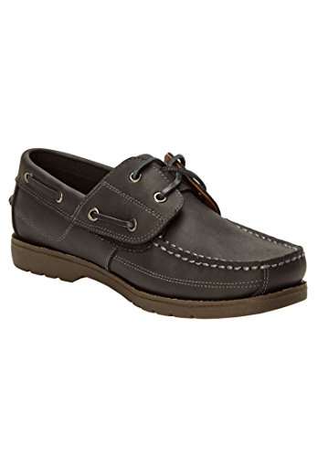 Shoe Black Leather KingSize Big Hidden Men's Boat Tall amp; Velcro 1vxTqz8