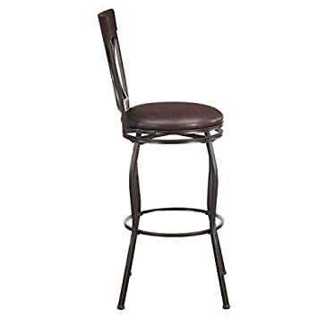 Ravenna Home Wood and Metal Detailed Swivel Bar Stool, 44.5 H, Dark Espresso