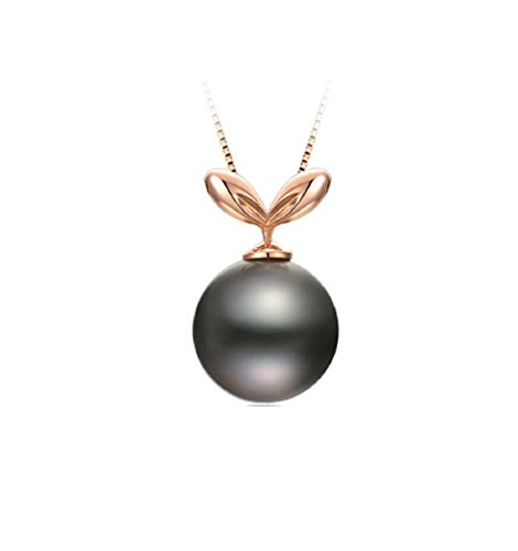 (GOWE 925 Sterling Silver Yellow Gold Color Seedling Necklace Pendants 10mm Round Black Cultured Pearl)
