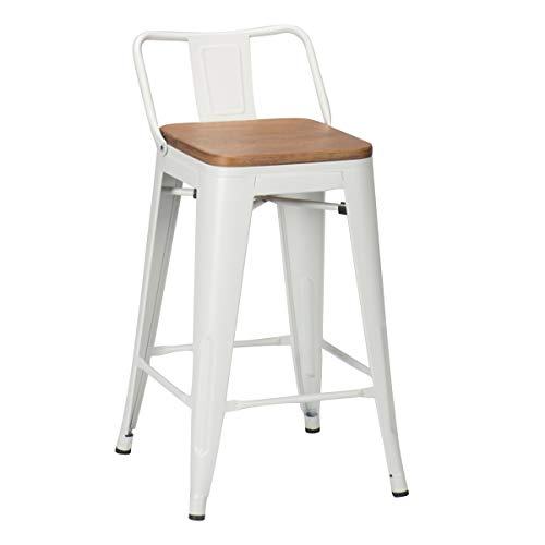 Changjie Furniture 26 Inch Low Back Metal Bar Stool Kitchen Counter Bar Stools Set of 4 �� (26 inch, Low Back White with Wooden Top)