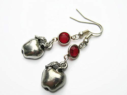 cd263d118 Amazon.com: Apple Birthstone Earrings, Personalized Teacher Earrings,  PEWTER Fruit Earrings, Orchard, Foodie Jewelry Gift: Handmade