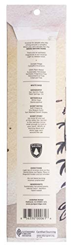 Juniper Ridge | Aromatic White Sage Incense | All Bamboo Sticks | Long Lasting | No Synthetic Fragrance | All Natural Ingredients | 20 Count