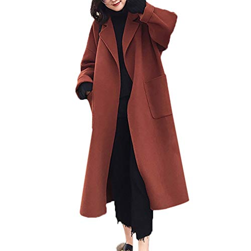 Winter Specials! Women Double-Sided Cashmere Coat Warm Faux Wool Slim Jacket Long Overcoat Outwear Outercoat (Brown, US:12=Tag Size:XXL)