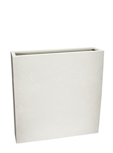 Le Present J580.068 White High Flower Box Fiberstone Pot44; White - 35.4 x 35.4 x 9.1 in. by Le Present