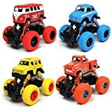 WisToyz Toddler Toys Pull back Cars, 4-Pack Cars Toys Boys Toys, Pull Back Vehicles with Shockproof Spring and Textured Rubber Tires, Friction Powered Cars Toys for Boys Girls Toddler Aged 3 and above -
