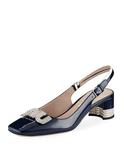 Miu Miu Patent Leather - Miu 45mm Patent Leather Slingback Royal Bianco Shoes 39
