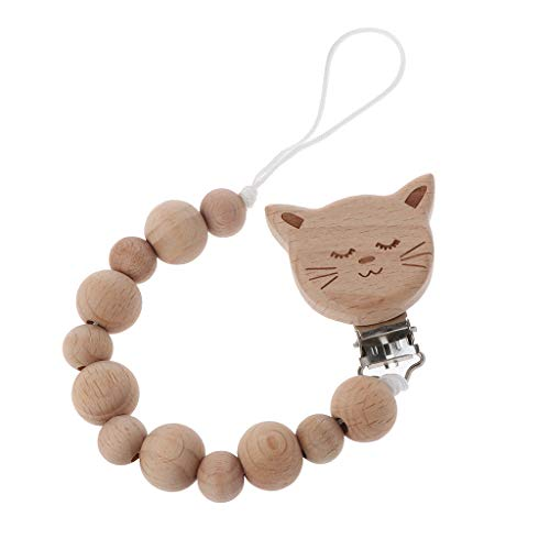 puhoon Beech Wood Beaded Pacifier Clip, Baby Dummy Nipple Holder, Infant Feeding Soother Teether Holder (Cat) from puhoon