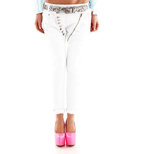 fila fila fila skinny con bottoni zip da Jeans Jeans Jeans di e donna up push Bianco in diagonale 8Yww6vdq